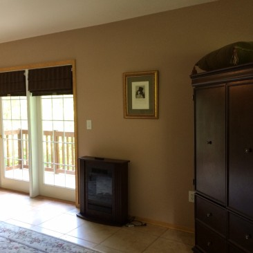 Bedroom: Flat screen TV, electric fireplace and laundry closet.